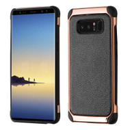 Electroplated Tough Hybrid Case with Leather Backing for Samsung Galaxy Note 8 - Black