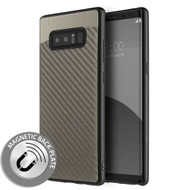 Carbon Metallic Luxury Fusion Case with Magnetic Back Plate for Samsung Galaxy Note 8 - Grey