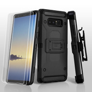 3-IN-1 Kinetic Hybrid Armor Case with Holster and Screen Protector for Samsung Galaxy Note 8 - Black
