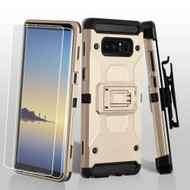 3-IN-1 Kinetic Hybrid Armor Case with Holster and Screen Protector for Samsung Galaxy Note 8 - Gold