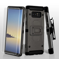 3-IN-1 Kinetic Hybrid Armor Case with Holster and Screen Protector for Samsung Galaxy Note 8 - Dark Grey