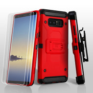 3-IN-1 Kinetic Hybrid Armor Case with Holster and Screen Protector for Samsung Galaxy Note 8 - Red