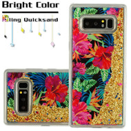 Quicksand Glitter Transparent Case for Samsung Galaxy Note 8 - Electric Hibiscus