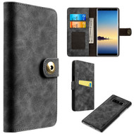 Luxury Coach Lite Series Leather Wallet with Removable Magnetic Case for Samsung Galaxy Note 8 - Black