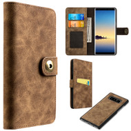 Luxury Coach Lite Series Leather Wallet with Removable Magnetic Case for Samsung Galaxy Note 8 - Brown