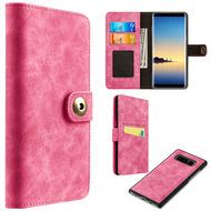 Luxury Coach Lite Series Leather Wallet with Removable Magnetic Case for Samsung Galaxy Note 8 - Hot Pink