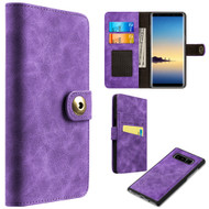 Luxury Coach Lite Series Leather Wallet with Removable Magnetic Case for Samsung Galaxy Note 8 - Purple