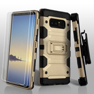 Military Grade Certified Storm Tank Hybrid Case with Holster and Screen Protector for Samsung Galaxy Note 8 - Gold