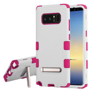 Military Grade Certified TUFF Hybrid Armor Case with Stand for Samsung Galaxy Note 8 - White Hot Pink
