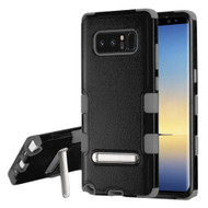 Military Grade Certified TUFF Hybrid Armor Case with Stand for Samsung Galaxy Note 8 - Black Grey