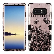 Military Grade Certified TUFF Image Hybrid Armor Case for Samsung Galaxy Note 8 - Lace Flowers Rose Gold