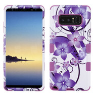 Military Grade Certified TUFF Image Hybrid Armor Case for Samsung Galaxy Note 8 - Purple Hibiscus Flower Romance