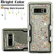 TUFF Quicksand Glitter Hybrid Armor Case for Samsung Galaxy Note 8 - Silver