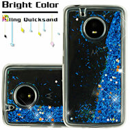 Quicksand Glitter Transparent Case for Motorola Moto E4 - Blue
