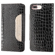 Luxury Embossed Crocodile Patent Leather Wallet Case for iPhone 8 Plus / 7 Plus - Black
