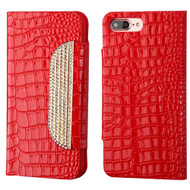 Luxury Embossed Crocodile Patent Leather Wallet Case for iPhone 8 Plus / 7 Plus - Red
