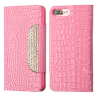 Luxury Embossed Crocodile Patent Leather Wallet Case for iPhone 8 Plus / 7 Plus - Pink