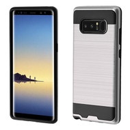 Brushed Hybrid Armor Case for Samsung Galaxy Note 8 - Silver