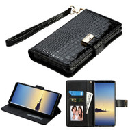Crocodile Embossed Leather Wallet Case for Samsung Galaxy Note 8 - Black