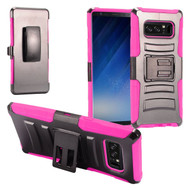 Advanced Armor Hybrid Kickstand Case with Holster Belt Clip for Samsung Galaxy Note 8 - Black Hot Pink