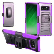 *Sale* Advanced Armor Hybrid Kickstand Case with Holster Belt Clip for Samsung Galaxy Note 8 - Black Purple