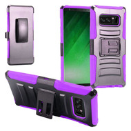 Advanced Armor Hybrid Kickstand Case with Holster Belt Clip for Samsung Galaxy Note 8 - Black Purple
