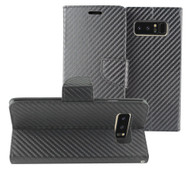 Leather Wallet Shell Case for Samsung Galaxy Note 8 - Carbon Fiber