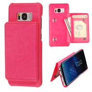 Pocket Wallet Case with Stand for Samsung Galaxy S8 Plus - Hot Pink