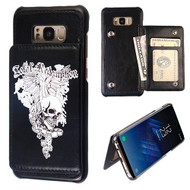 Pocket Wallet Case with Stand for Samsung Galaxy S8 Plus - Skull Wing