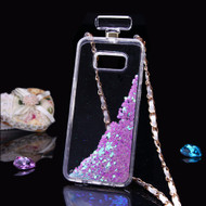 Perfume Bottle Quicksand Glitter Case for Samsung Galaxy S8 Plus - Purple