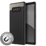 Carbon Metallic Luxury Fusion Case with Magnetic Back Plate for Samsung Galaxy Note 8 - Black
