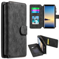 Luxury Coach Series Leather Wallet with Removable Magnet Case for Samsung Galaxy Note 8 - Black