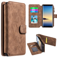 Luxury Coach Series Leather Wallet with Removable Magnet Case for Samsung Galaxy Note 8 - Brown