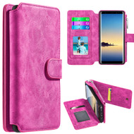 Luxury Coach Series Leather Wallet with Removable Magnet Case for Samsung Galaxy Note 8 - Hot Pink