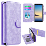 Luxury Coach Series Leather Wallet with Removable Magnet Case for Samsung Galaxy Note 8 - Lavender