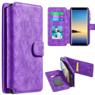 Luxury Coach Series Leather Wallet with Removable Magnet Case for Samsung Galaxy Note 8 - Purple