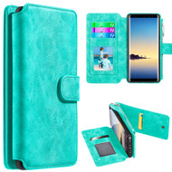 Luxury Coach Series Leather Wallet with Removable Magnet Case for Samsung Galaxy Note 8 - Teal
