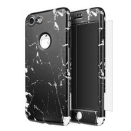 360 Full Body Protection Fusion Case with Tempered Glass Screen Protector for iPhone 8 / 7 - Marble Black