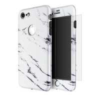 360 Full Body Protection Fusion Case with Tempered Glass Screen Protector for iPhone 8 / 7 - Marble White