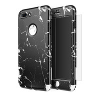 360 Full Body Protection Fusion Case with Tempered Glass Screen Protector for iPhone 8 Plus / 7 Plus - Marble Black