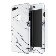360 Full Body Protection Fusion Case with Tempered Glass Screen Protector for iPhone 8 Plus / 7 Plus - Marble White