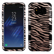 Military Grade Certified TUFF Image Hybrid Armor Case for Samsung Galaxy S8 Plus - Zebra Rose Gold