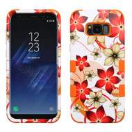 Military Grade Certified TUFF Image Hybrid Armor Case for Samsung Galaxy S8 Plus - Orange Hibiscus Flower Romance