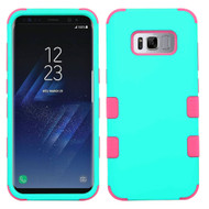 Military Grade Certified TUFF Hybrid Armor Case for Samsung Galaxy S8 Plus - Teal Green Electric Pink