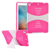 Shockproof Hybrid Armor Case with Stand for iPad (2017) - Hot Pink White