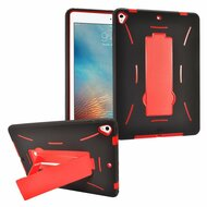 Dual Layer Hybrid Armor Case with Stand for iPad (2017) - Red