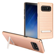 Brushed Multi-Layer Hybrid Armor Case with Kickstand for Samsung Galaxy Note 8 - Rose Gold