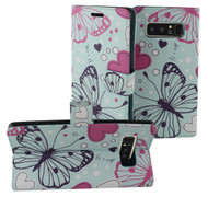 Designer Graphic Leather Wallet Stand Case for Samsung Galaxy Note 8 - Butterfly