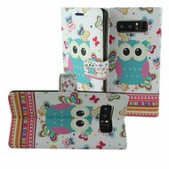 Designer Graphic Leather Wallet Stand Case for Samsung Galaxy Note 8 - Owl Butterfly