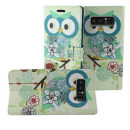 Designer Graphic Leather Wallet Stand Case for Samsung Galaxy Note 8 - Owl